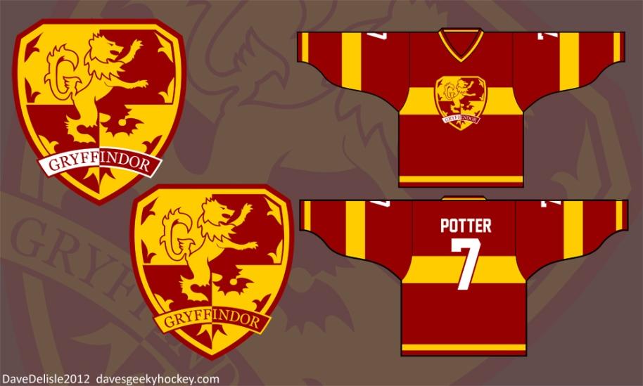Harry Potter Gryffindor Logo Quidditch Hockey Jersey 2012 davesgeekyhockey.com davesgeekyideas.com