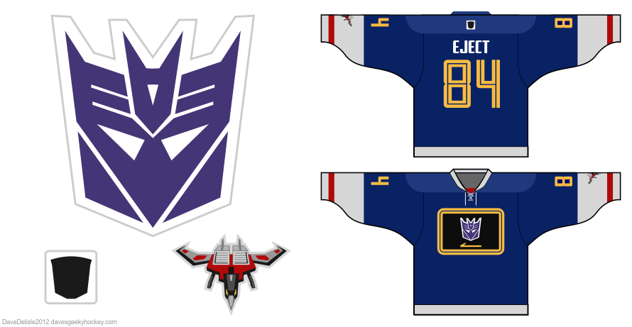 Soundwave Decepticon hockey jersey design by Dave Delisle