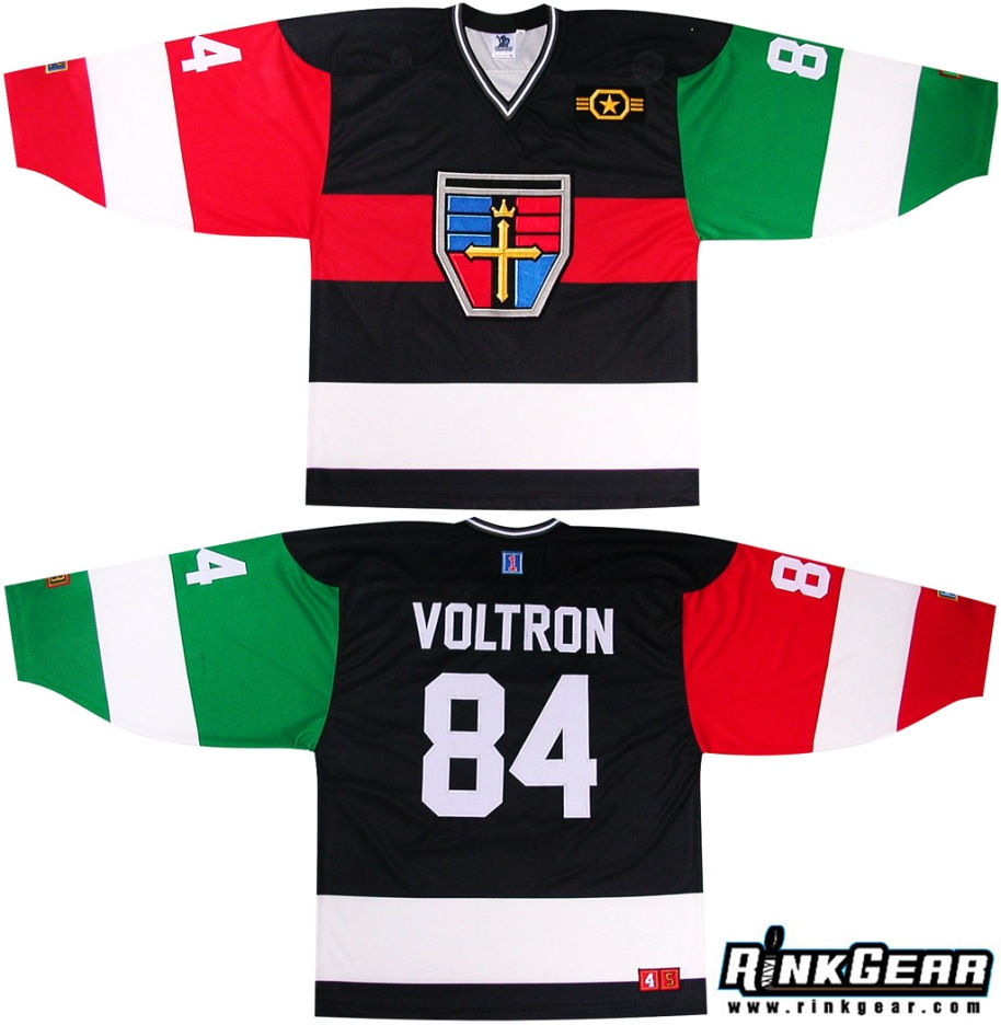 Voltron Hockey Jerseys 2012 Embroidered Geek Dave Delisle davesgeekyhockey.com Rinkgear