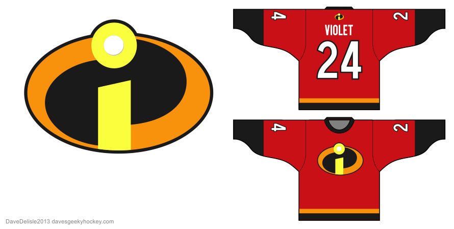 Incredibles hockey jersey design by Dave Delisle