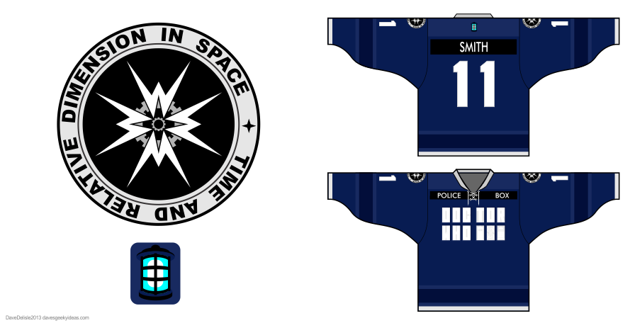 Tardis 2.0 hockey jerseys by Dave Delisle
