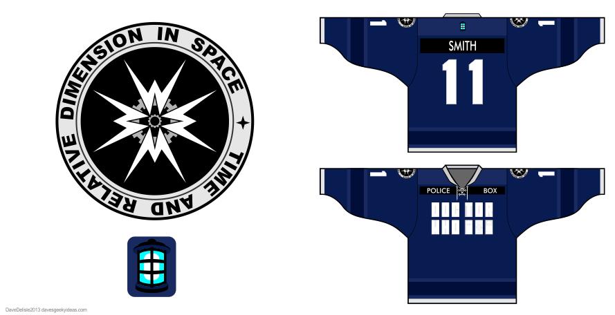 Tardis 2.0 hockey jerseys by Dave Delisle