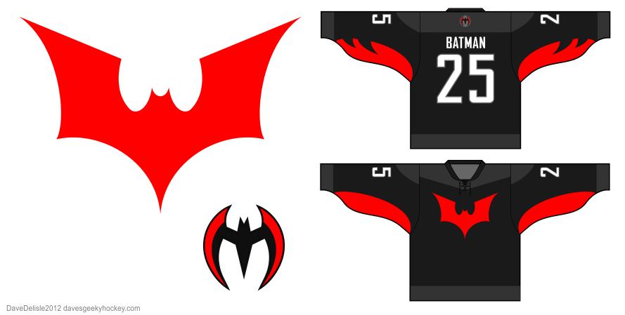 Batman Beyond hockey jersey design by Dave Delisle