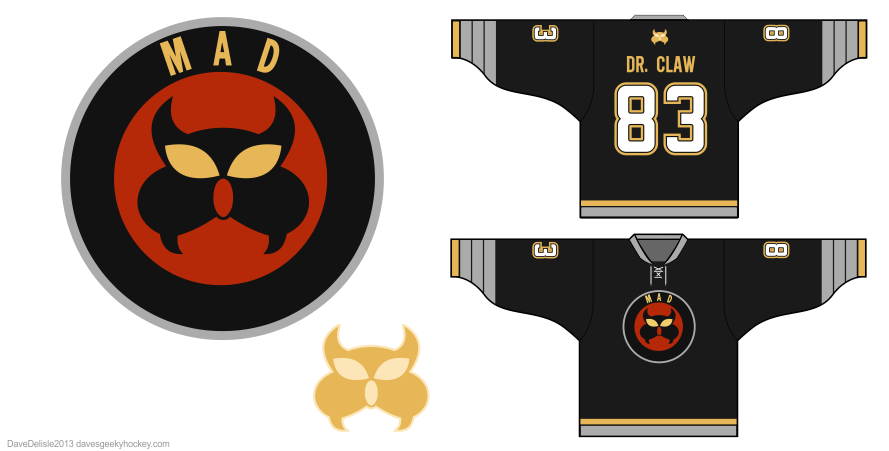 Dr Claw MAD hockey jersey design by Dave Delisle