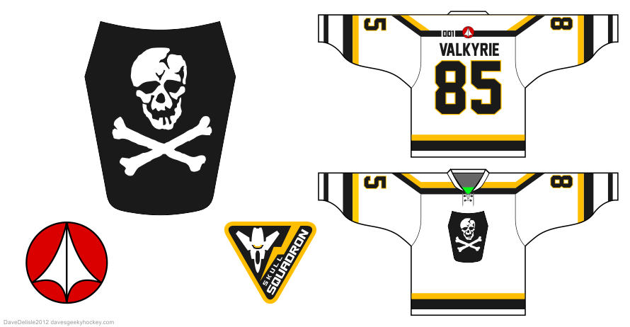 Robotech Valkyrie hockey jersey design by Dave Delisle
