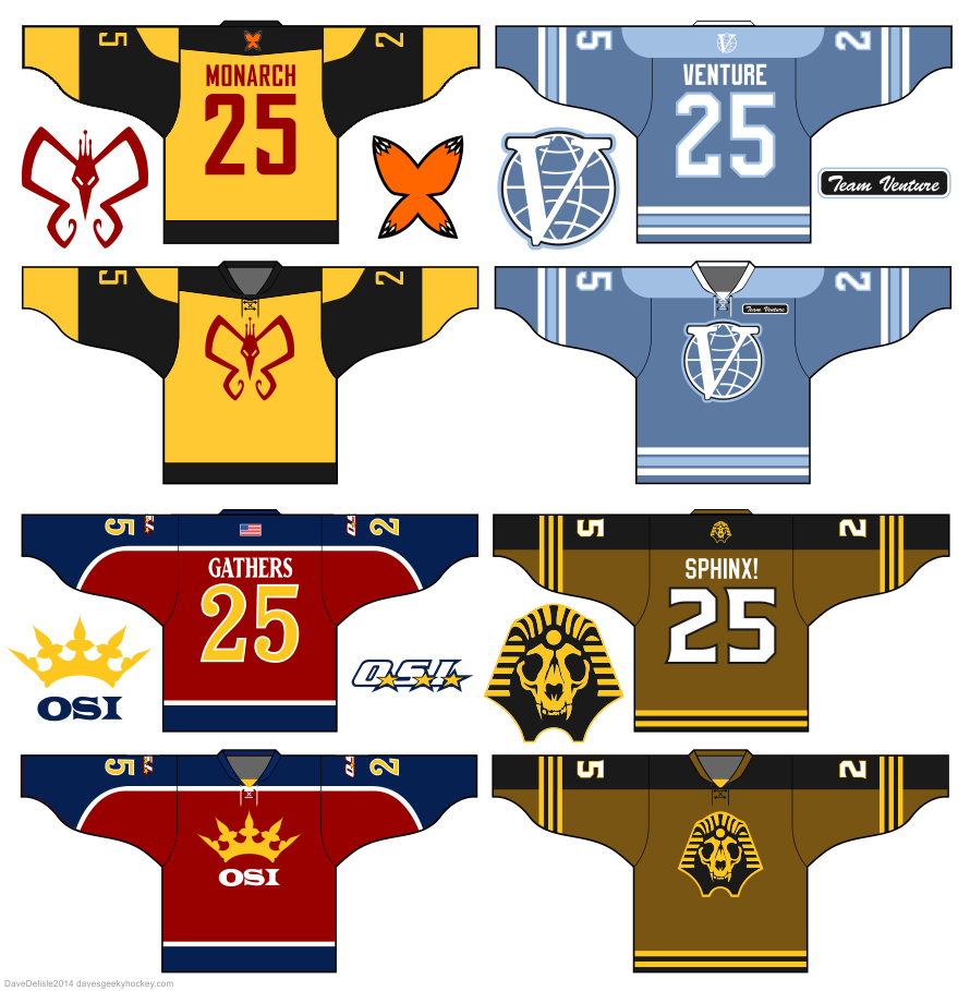 Venture Bros hockey jerseys by Dave Delisle