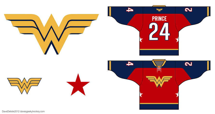 Wonder Woman hockey jersey by Dave Delisle