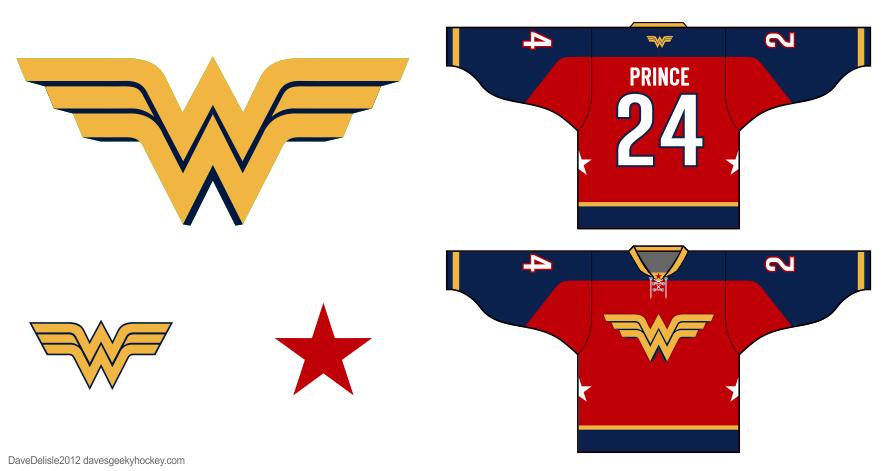 Wonder Woman hockey jersey by Dave Delisle