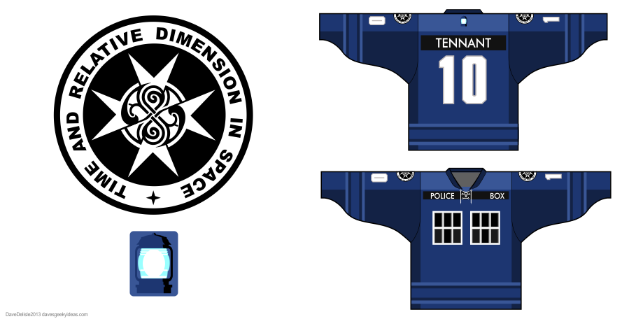 Tardis 3.0 hockey jersey design by Dave Delisle