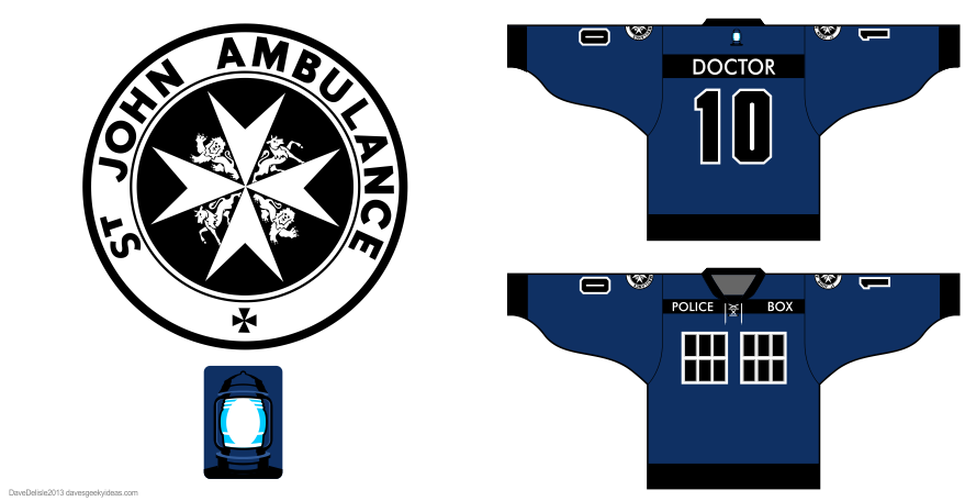 Tardis 4.0 hockey jersey design by Dave Delisle