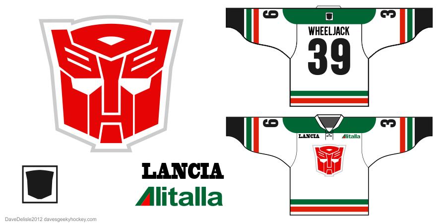 Autobot Jazz Hockey jersey design by Dave Delisle