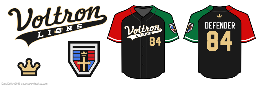 Voltron baseball jersey by Dave Delisle