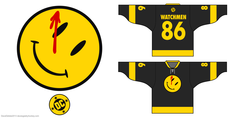 Watchmen DC Comics hockey jersey design by Dave Delisle