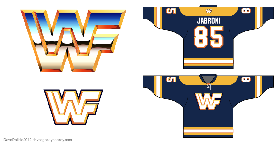 WWF hockey jersey design by Dave Delisle