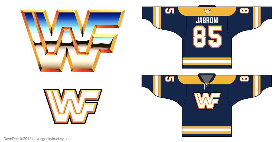 WWF hockey jersey design by Dave Delisle