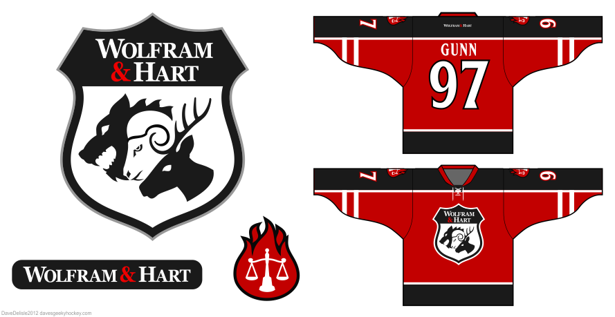 Wolfram and hart hockey jersey design by Dave Delisle