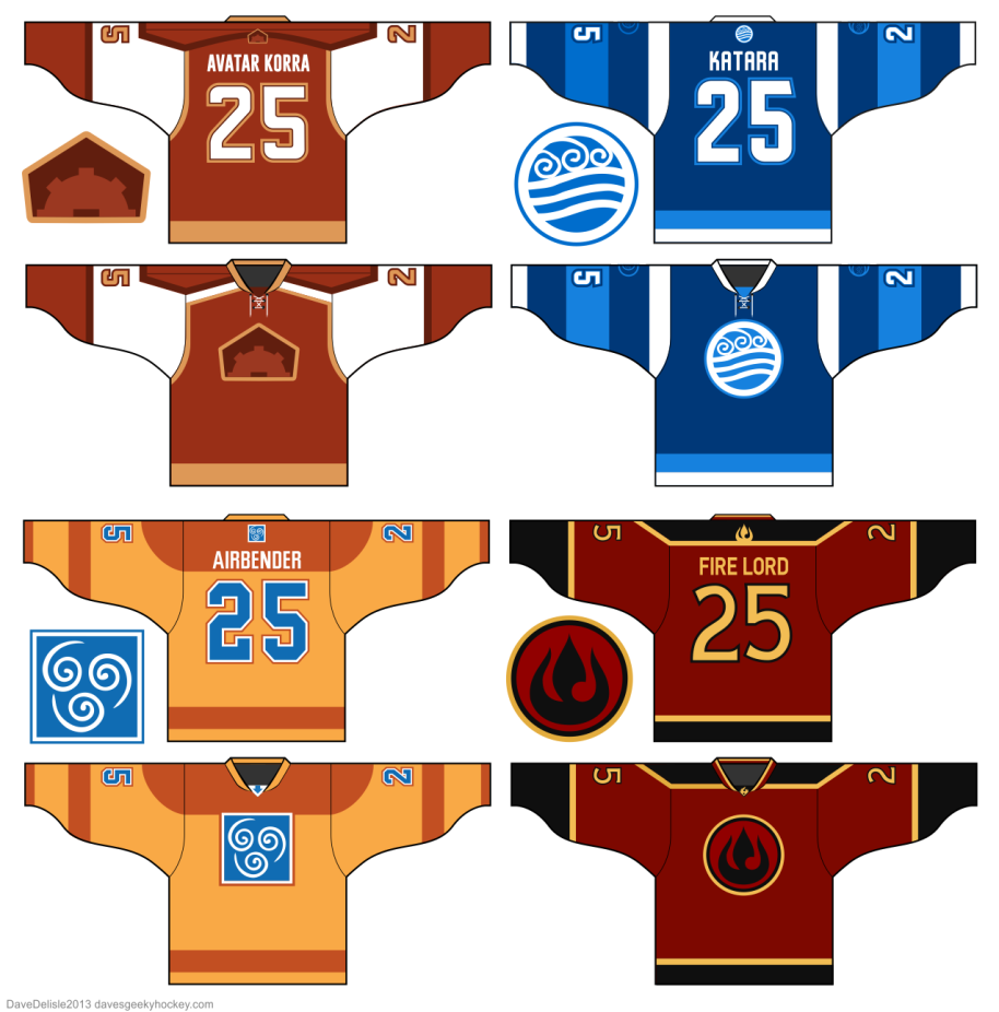 Avatar Airbender Hockey Jerseys