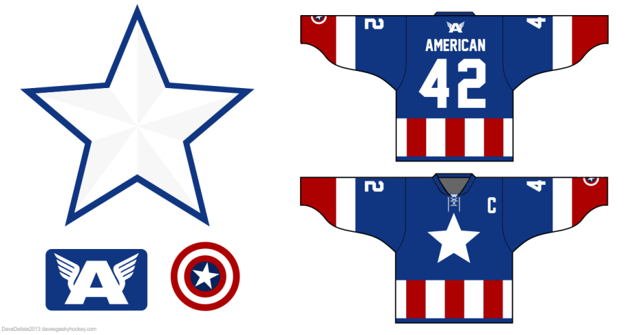 Captain America 2.0 hockey jersey design by davesgeekyhockey