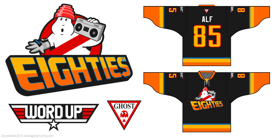 80's hockey jersey design by Dave Delisle