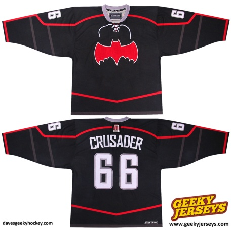 Crusaders Batmobile-Inspired Hockey Jersey 2013 davesgeekyhockey.com Dave Delisle geeky hockey jerseys