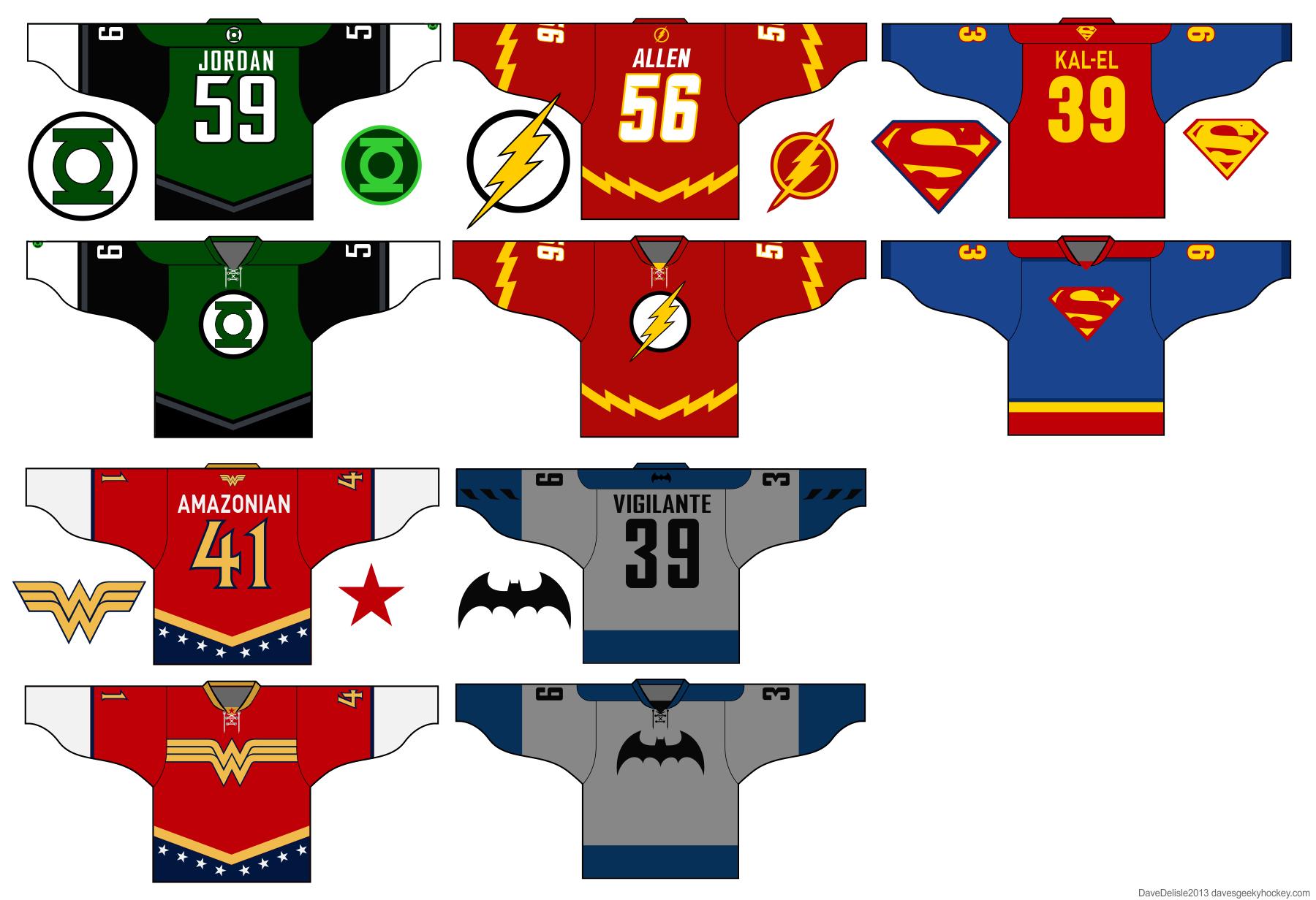 Justice League Hockey Jerseys DC Comics 6ef66681045