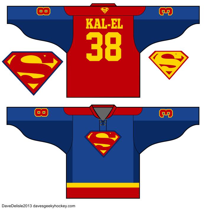 ... Superman Batman Flash Green Lantern Wonder Woman 2013 Dave Delisle  Dave s Geeky HockeyDC Comics Justice League Hockey Jersey Designs Superman  Batman ... 171068c5016