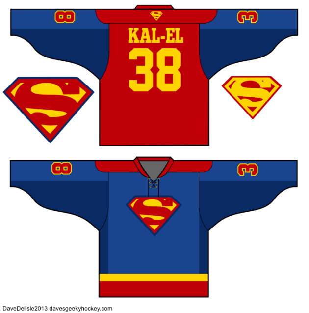 DC Comics Justice League Hockey Jersey Designs Superman Batman Flash Green Lantern Wonder Woman 2013 Dave Delisle Dave's Geeky Hockey