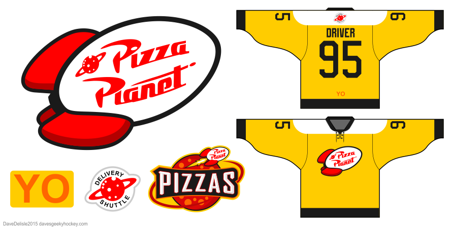 Pizza Planet Hockey Jersey Design by Dave Delisle