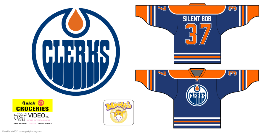 Clerks hockey jersey design by Dave Delisle