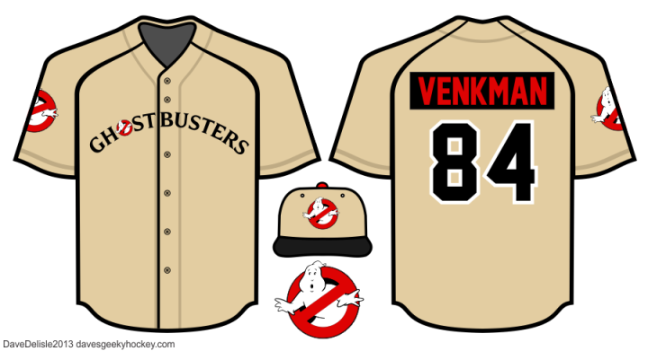 Ghostbusters Baseball Jersey design 2013 Dave Delisle davesgeekyhockey.com Geeky Jersey Designer