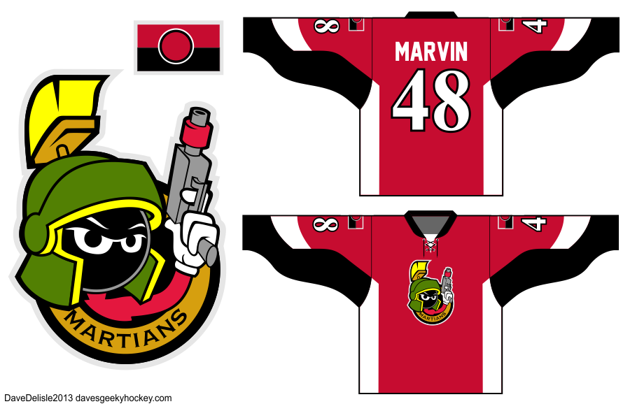 Marvin The Martian Hockey jersey Ottawa Senators Concept 2013 Dave Delisle davesgeekyhockey.com