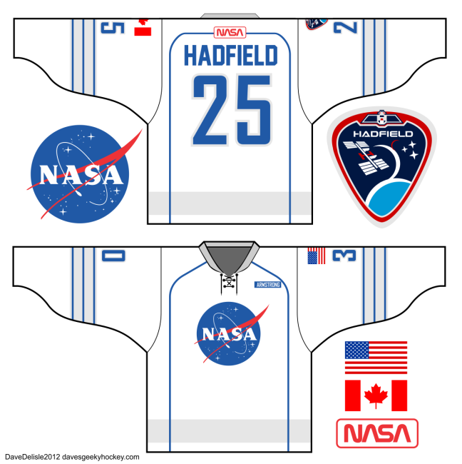 NASA Hadfield Hockey Jersey Canada USA ISS Geeky Hockey Jerseys Dave Delisle 2013