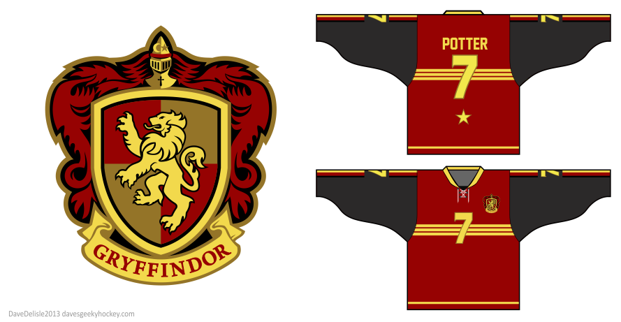 Gryffindor hockey jersey design by Dave Delisle