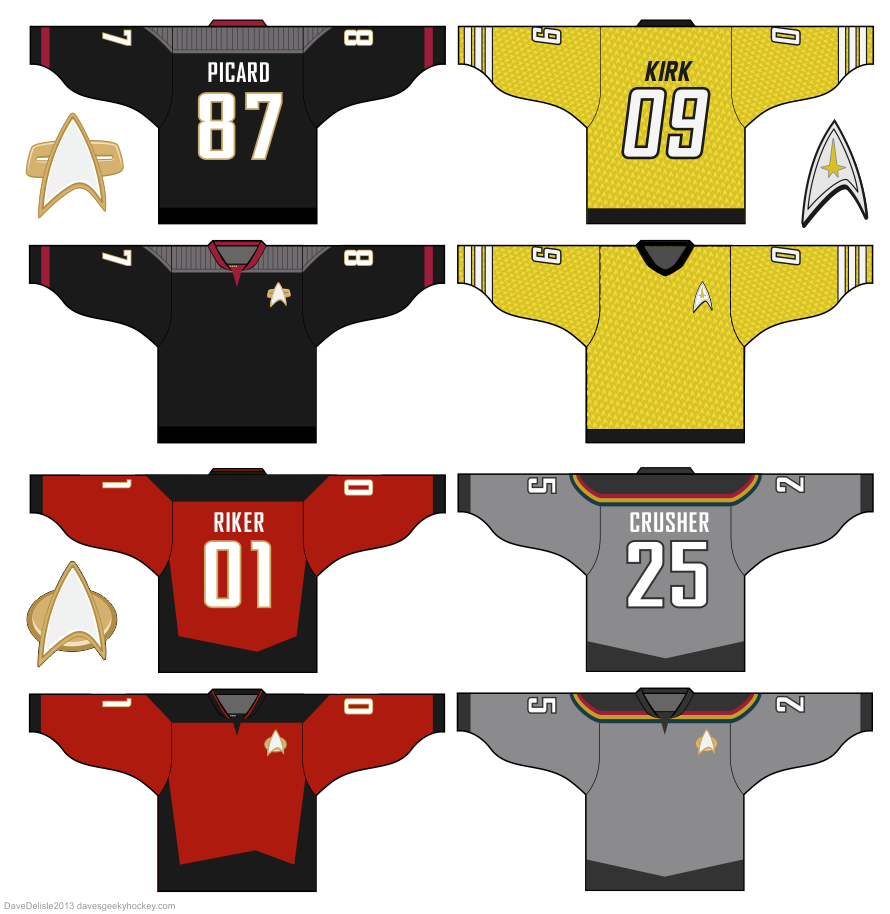 Star Trek hockey jerseys by Dave Delisle