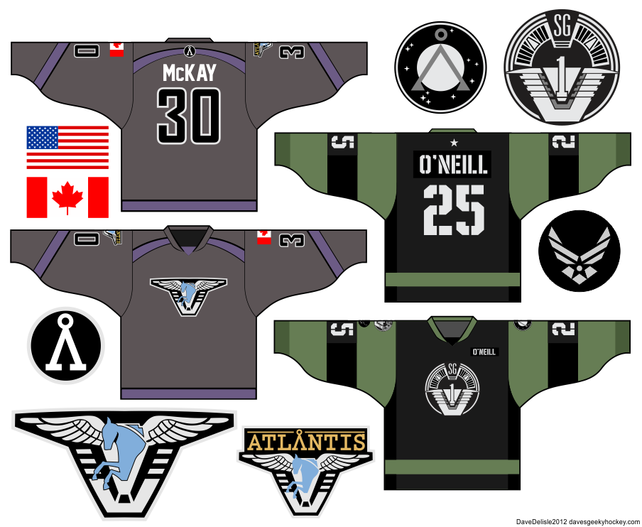 Stargate SG-1 Uniform Atlantis Uniform Hockey Jersey Designs 2013 Dave Delisle davesgeekyhockey