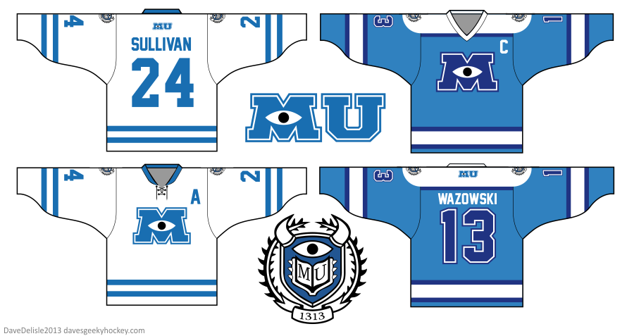 Monsters Inc University hockey jersey by Dave Delisle