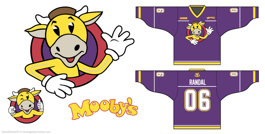Mooby's hockey jersey design by Dave Delisle