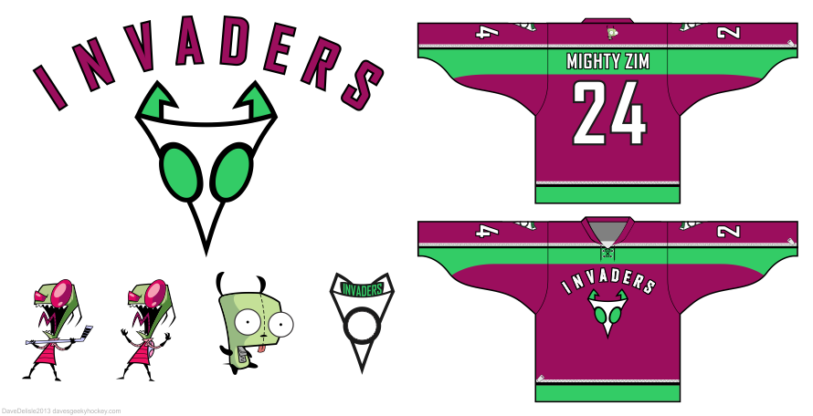 Invader Zim Hockey Jersey Design by Dave Delisle