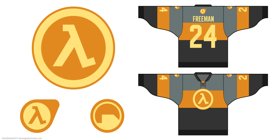 Half Life 3 hockey jersey by Dave Delisle