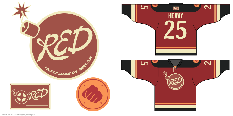 Team Fortress 2 hockey jerseys by Dave Delisle