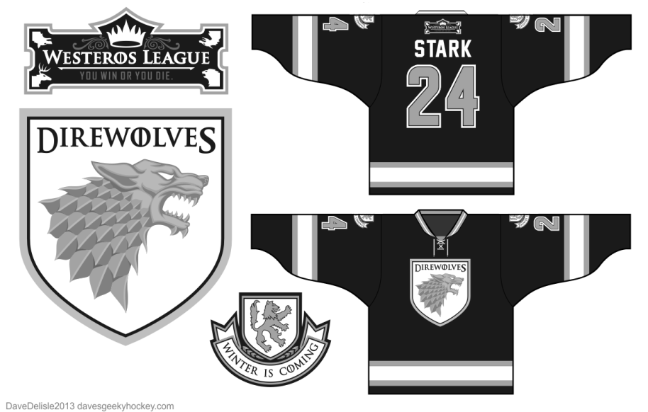 House Stark Sigil Direwolves Hockey Jerseys 2013