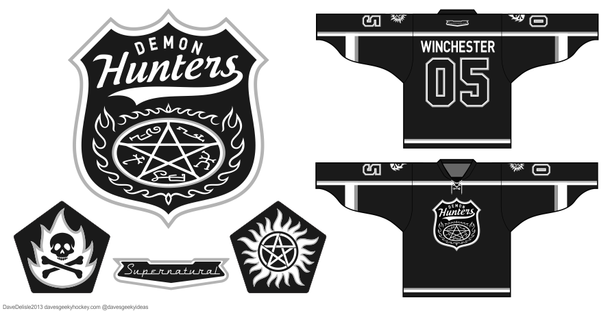 Supernatuural Demon Hunters hockey jersey design by Dave Delisle