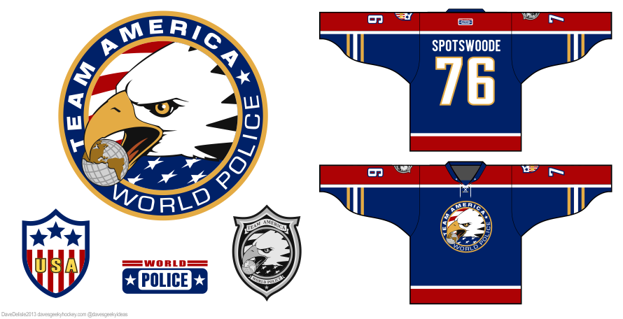 team america world police hockey jersey by Dave Delisle