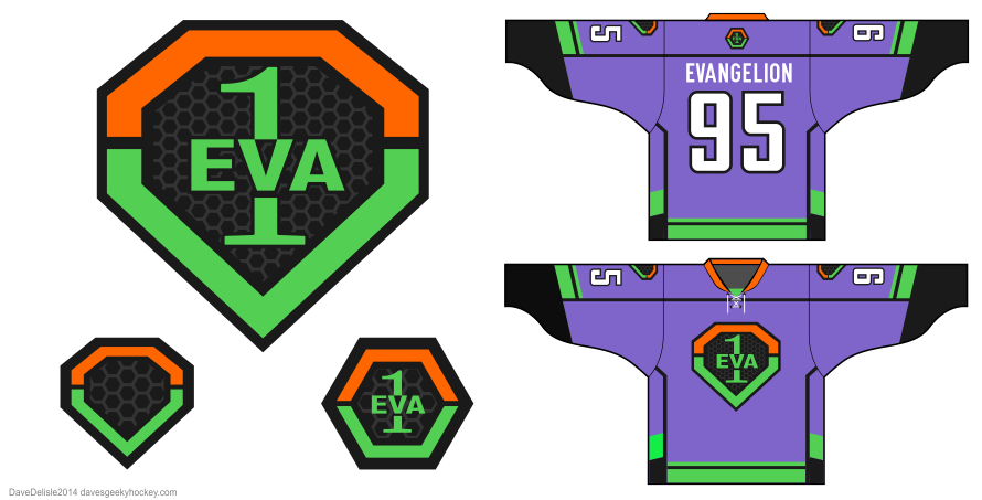 Evangelion hockey jersey design by Dave Delisle