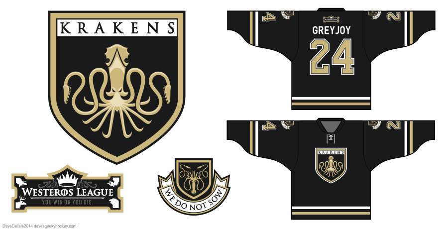 Greyjoy hockey jersey design by Dave Delisle