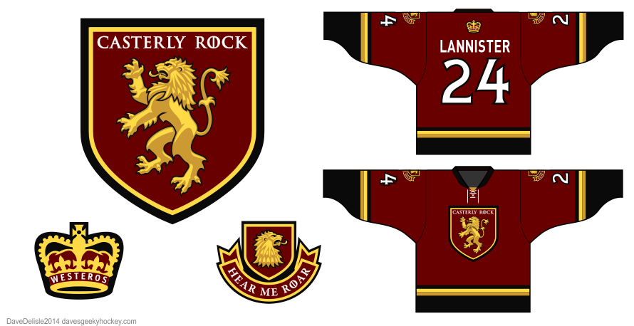 Lannister 3.0 hockey jersey by Dave Delisle