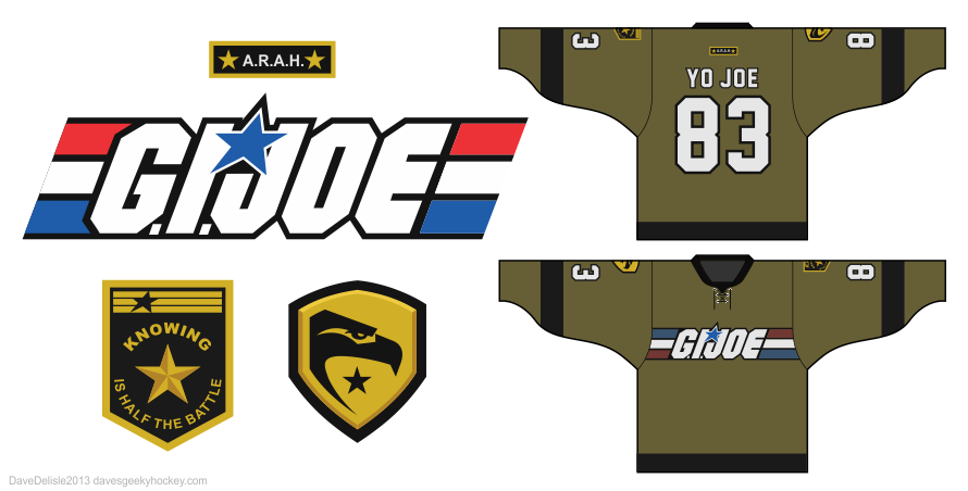 GI Joe Cobra hockey jerseys by Dave Delisle