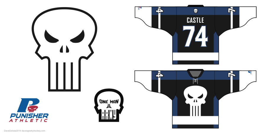 punisher hockey jersey design by Dave Delisle