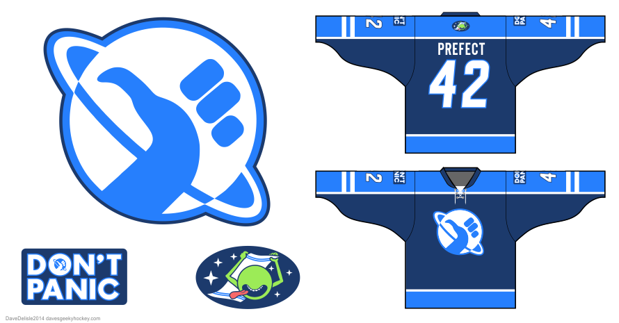 Hitchhikers Guide hockey jersey design by Dave Delisle