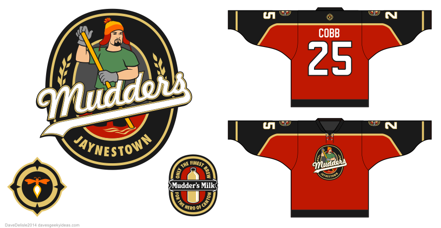Jaynestown Mudders hockey jersey design by Dave Delisle